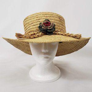 August Accessories Floral Straw Hat